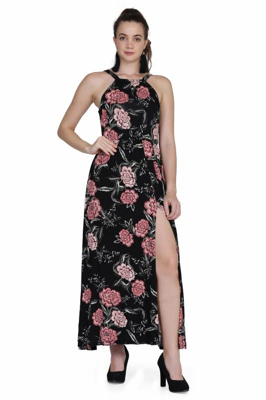 A-Line printed knitted maxi Length dress for women
