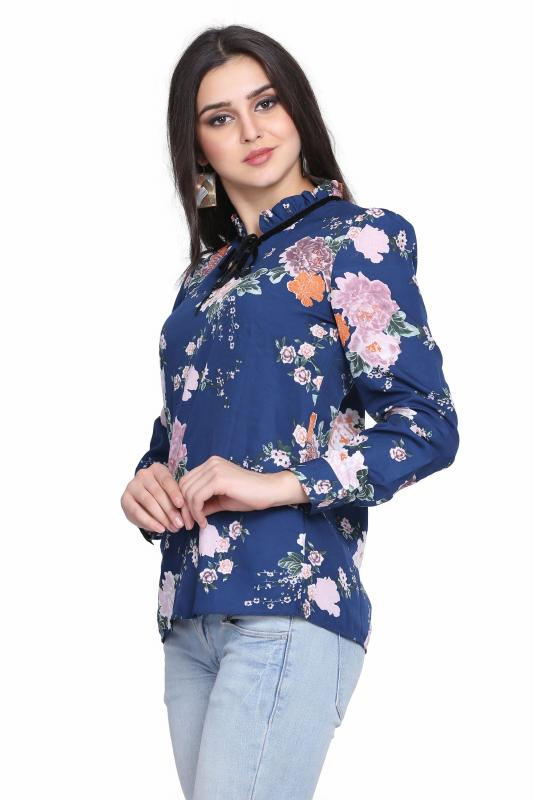 Flower Print Regular Western Top For women