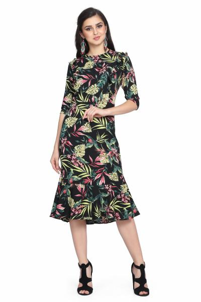 Palm Print Bubble Moss Drop Waist Dress