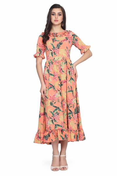 Palm Print Bubble Moss Fit and Flare Dress