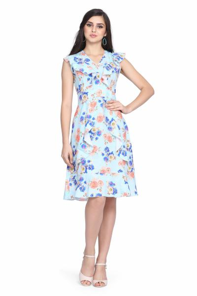 Flower Digital Print Drop Waist Dress