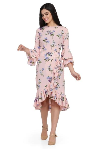 Printed Drop Frill dress for women