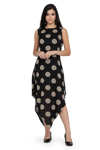 Circle Print Rayon dress for women