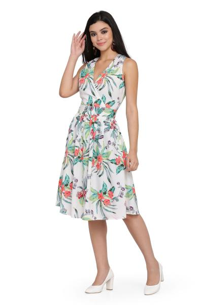 Printed Bubble Moss Fit and Flare dress