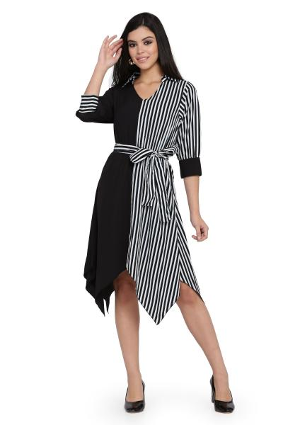Stripe Print High Low Dress for women