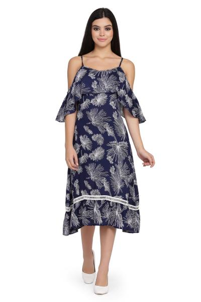 Printed Drop Shoulder Frill dress