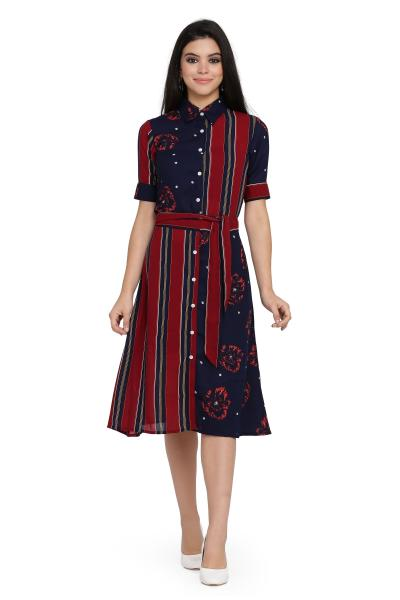 Stripe Print shirt dress for women