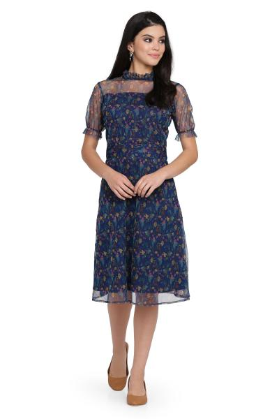 Printed Net Fit and Flare dress