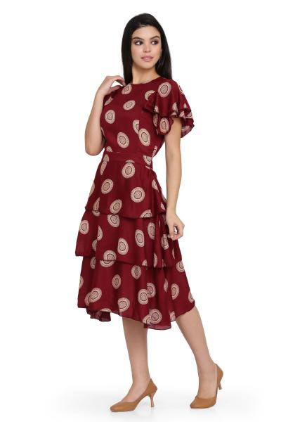 Printed Skirt Frill Dress for women