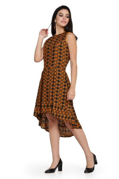 Printed Rayon High Low Dress