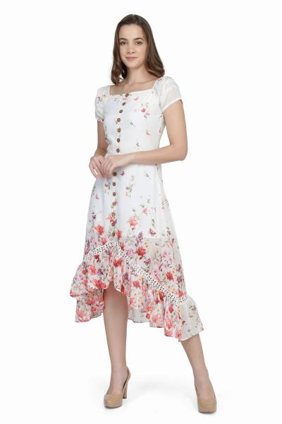 Floral Print White High Low Dress For Women