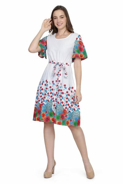 Flower Print Cotton Fit and Flare Dress for women