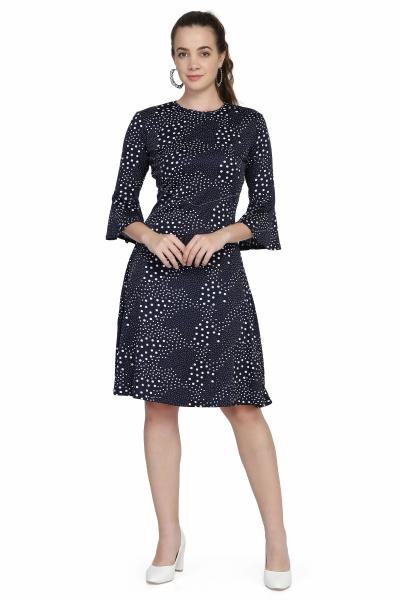 poppy print knitted navy dress for women