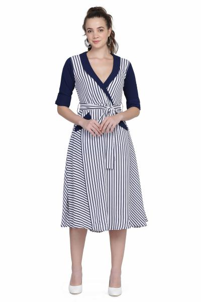 Lapel Dress with Sash for Women