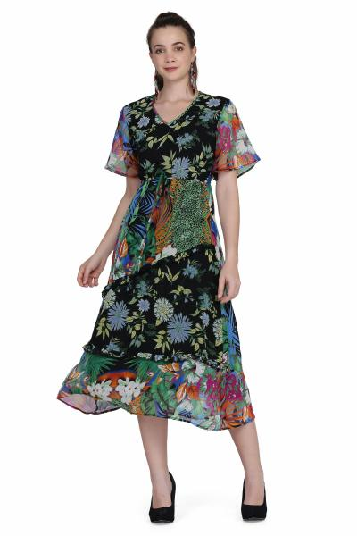 Floral Print fit & Flare Dress for women