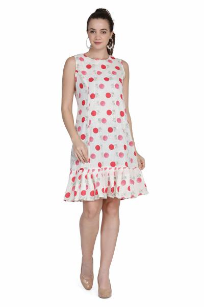 Polka dot Print cotton drop waist dress for women