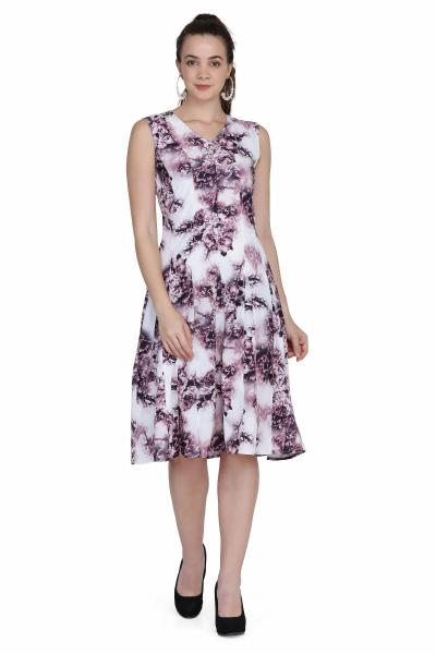 Digital print white fit and flare dress