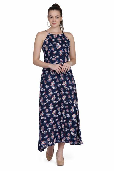 Flower Print Rayon maxi Dress