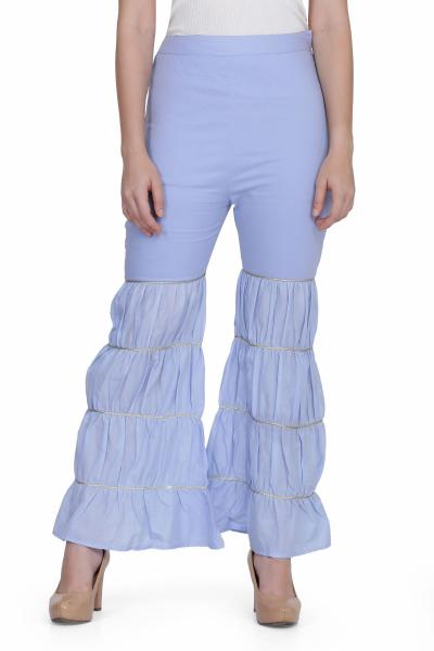 Cotton Solid FrilledPalazzo for women