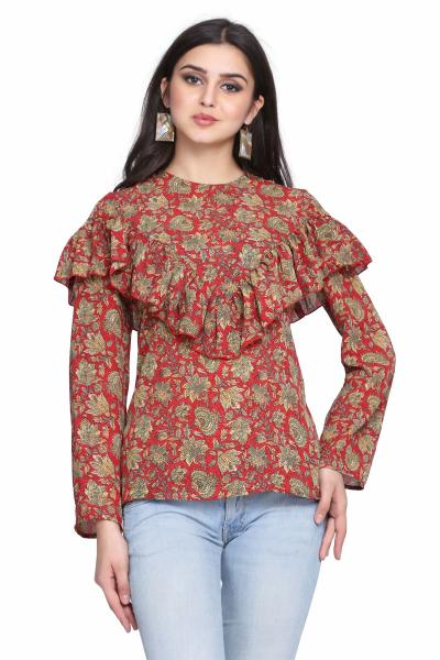 Printed Knitted Fitted Top For Women