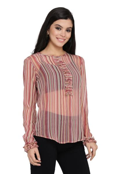 Stripe Print Frilled Top For Women