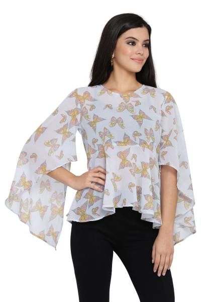 Printed High Low Top With Bell Sleeve