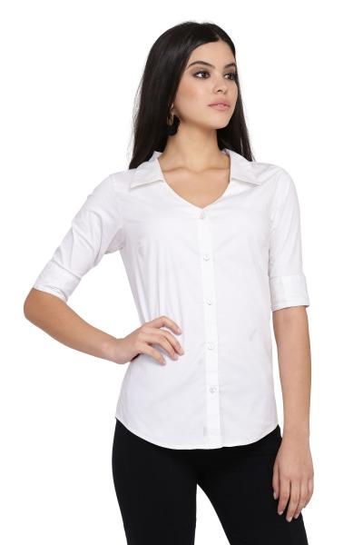 Women's Solid White Casual Shirt