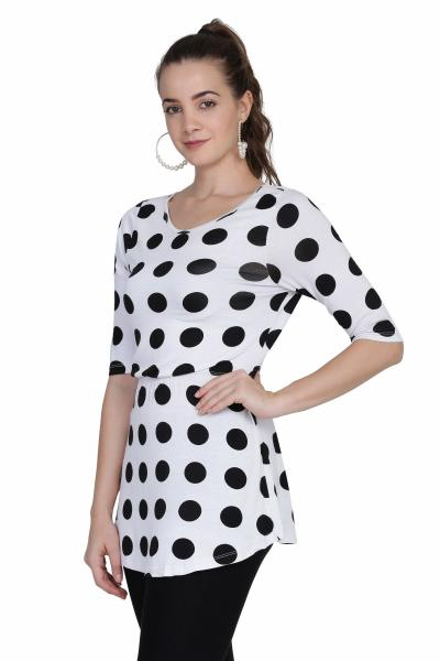 Pokla dot Print Knitted Top For women