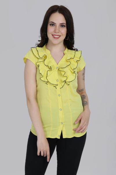 Solid y Yellow Ruffle Top For women