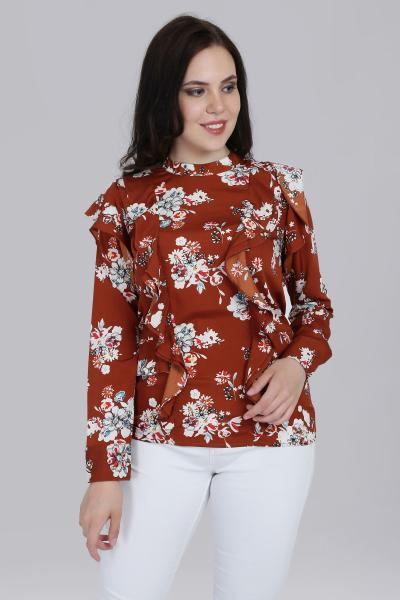 Printed Ruffle semi fitted top for women